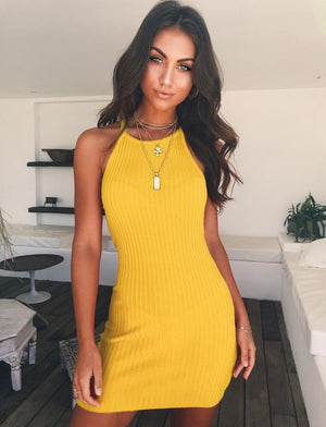 Women Sexy Club Backless Spaghetti Strap Summer Dress 2018 Cotton Ladies Elastic Bodycon Black Yellow Party Mini Dresses Vestido-geekbuyig