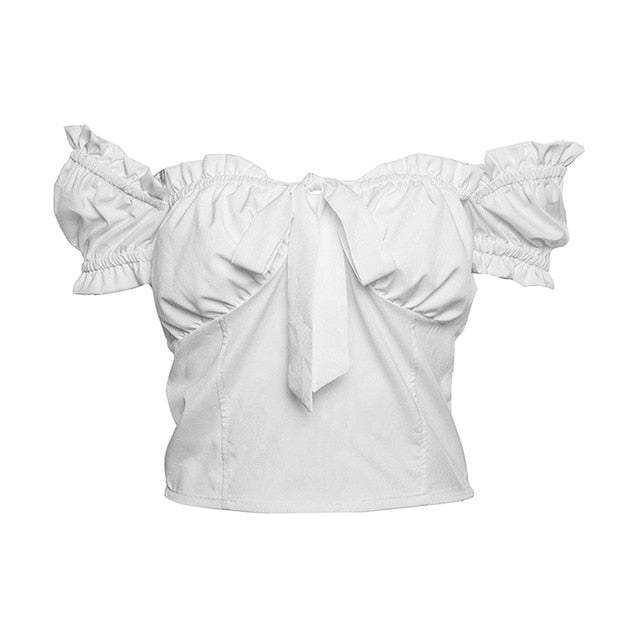 Sexy Off Shoulder Blouse Ruffles bow t shirt Women summer crop tops solid tanks White Pink Party beach Shirts women lace top-geekbuyig