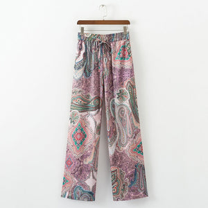 2018 summer female casual pants elastic waist and wide leg pants printing-geekbuyig