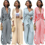 Women Casual Two Pieces Sets Long Sleeve Striped Blouse and Elastic Waist Wide Leg Pants Tracksuit Femme 2 Pieces Outfits-geekbuyig