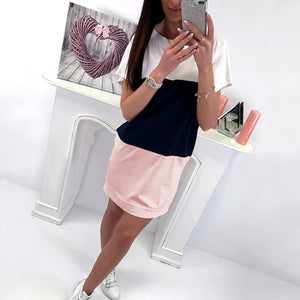 Loose Casual Color Patchwork Short Sleeve Summer Mini Dress Women 2018 Back Lace Up Cotton Pink Sundresses Ladies Dresses Jurken-geekbuyig