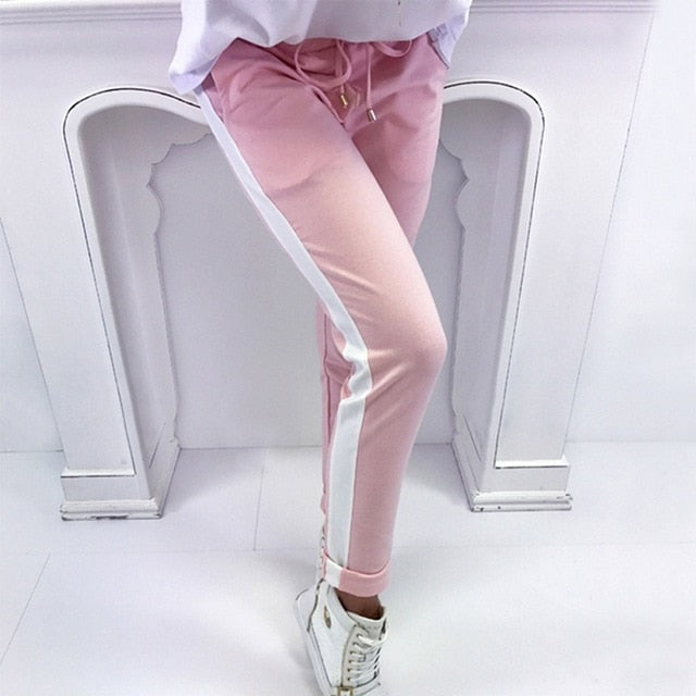 Summer Spring Striped Pencil Pants Women Sweatpants Red Bottoms 2018 Casual High Waist Pant Drawstring Trousers Pantalon Femme-geekbuyig
