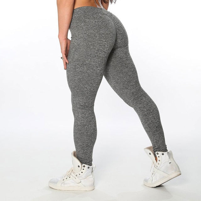Women Elastic Hip Push Up leggings Black Grey Light Gray Skinny New Arrival Ladies Plain Elastic Waist Color Pants-geekbuyig