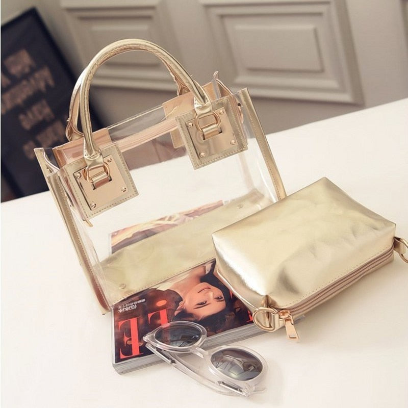 Fashion Transparent composite jelly bag beach bags famous brand women leather messenger handbags shoulder bags sac a main femme-geekbuyig