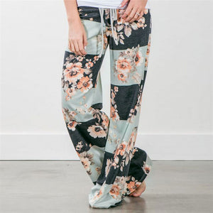 2018 Summer Women Causal Floral Print Pants Drawstring Wide Leg Pants Loose Straight Trousers Long Female Plus Size Trousers 3XL-geekbuyig