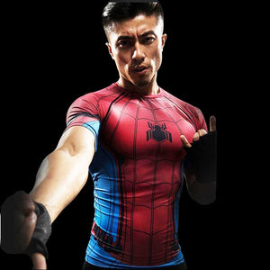 3D Print Compression Shirt Men's Anime Super hero T-shirt Summer Fashion Fitness Superman Spiderman Short-Sleeved Clothing tee-geekbuyig