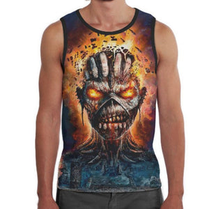 3D Skull Printed Summer Tank Top Short Tops Sleeveless O Neck Casual Tank Vest Male Body Building Shirts-geekbuyig