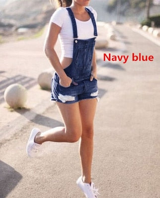 Women Summer Denim Bib Overalls Jeans Shorts Jumpsuits and Rompers Playsuit-geekbuyig