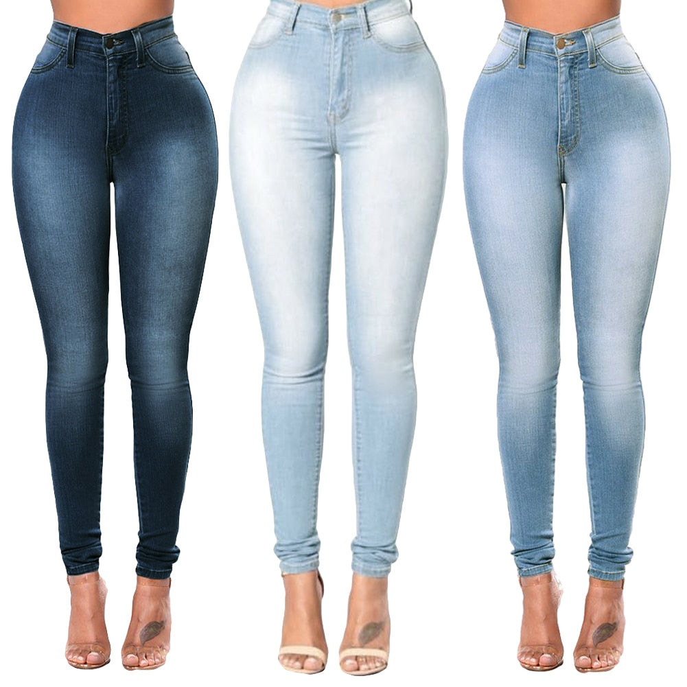 2018 Sexy Girls Plus Size Pants XXXL Women Skinny Denim Jeans Classic High Waist Washed Slim Pants Tights Pencil Trousers female-geekbuyig