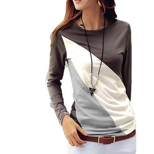T Shirt Women Spring Autumn 2018 Casual Women T-shirts O-Neck Long Sleeve Patchwork Color Slim T-Shirt Female Tops Tshirt-geekbuyig