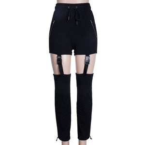 Women Zipper Pocket Pants Elastic High Waist Buckle Long Pants Hollow Out Loose Harem Pants Punk Hip Hop Casual Trousers-geekbuyig