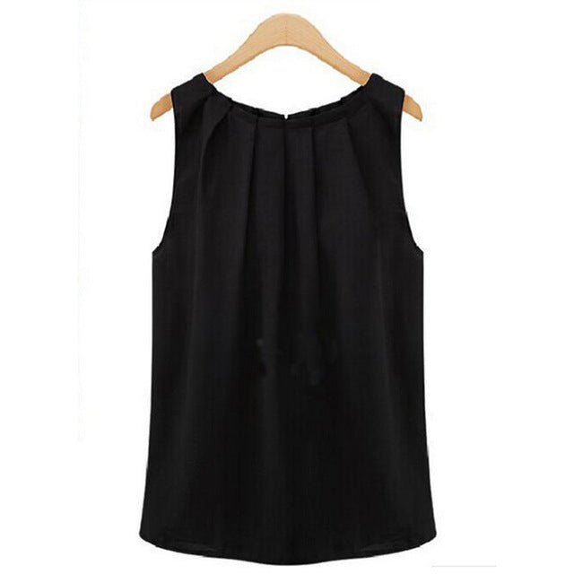 Tank Tops Women Loose Casual Chiffon Solid Sleeveless Vest All-match Sexy Basic O-neck Tops For Women Female Clothing HO811831-geekbuyig