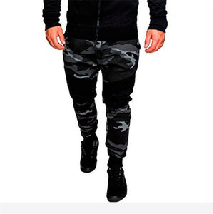 EINAUDI 2018 new style men's fitness, leisure, fashion, camouflage, patchwork color and slim stretch pants-geekbuyig