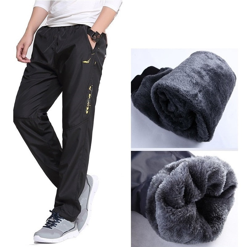 Brand Mens Wool Pants are Straight in Autumn and Winter Velvet Thick Pants Men Super Warm Fleece Pants Male Wool Inside Trousers-geekbuyig