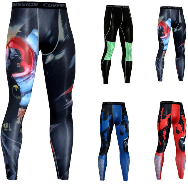 2018 Trending Men 3D Print Compression Pants Base Layer Exercise Joggers Mens Fitness Anime Fitness Skinny Leggings Male Tights-geekbuyig