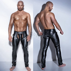 Fashion Sexy Men's Clubwear Leather Skinny Tight Pants PU Leather Trousers Elastic Pants Personlized Crotch Bandage Slim Tight-geekbuyig