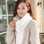 FOXMOTHER Free Shipping 2018 New Fashion Red White Soild Color Winter Knitting Ring Scarf Knitted Scarves Snood Women Ladies-geekbuyig