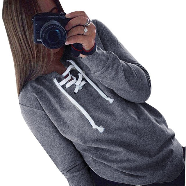 NIBESSER Casual Hoodies Women Fashion Lace Up Hoodies Sweatshirt Female Solid Pullover Hoodies Tracksuit Top Christmas Jumper-geekbuyig