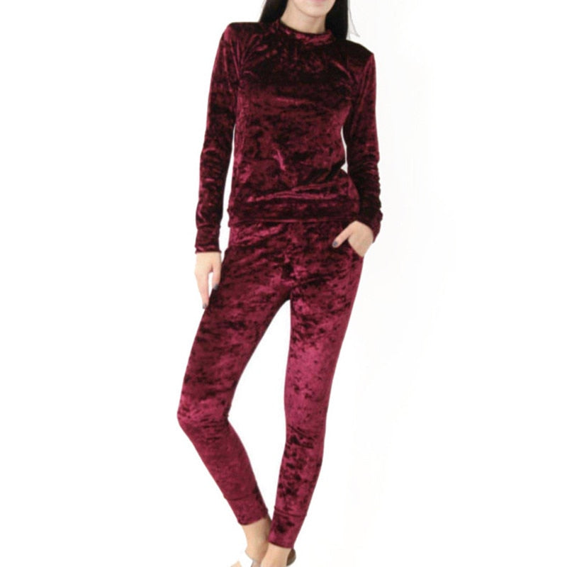 2018 Autumn Winter Women Fashion Tracksuit Velvet Hoodies + Pants 2 Pieces Female Casual Tracksuit Velour Pullovers Sweatshirts-geekbuyig