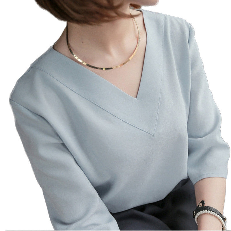 RibbonFish Women Summer Style Chiffon Blouses Shirts Lady Girls Simple Style V-Neck Gray Pink White Blusas DD1339-geekbuyig
