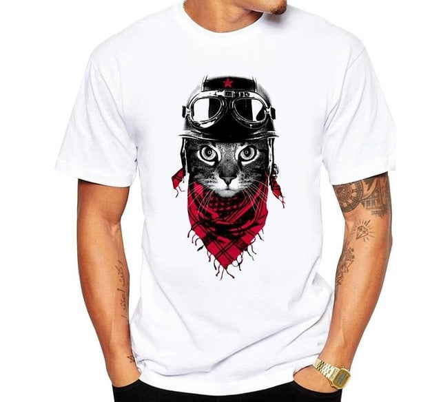 Men Summer T-Shirt Creative The Observer Cat Printed Men's Tops Short Sleeve Casual T Shirts cartoon printed hipster short tees-geekbuyig