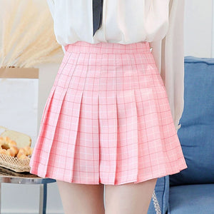 Women's Kawaii Plaid High Waist Pleated Student Skirts Harajuku A-Line Mini Skirt Female Korean Style 2018 Fashion Summer Skirts-geekbuyig