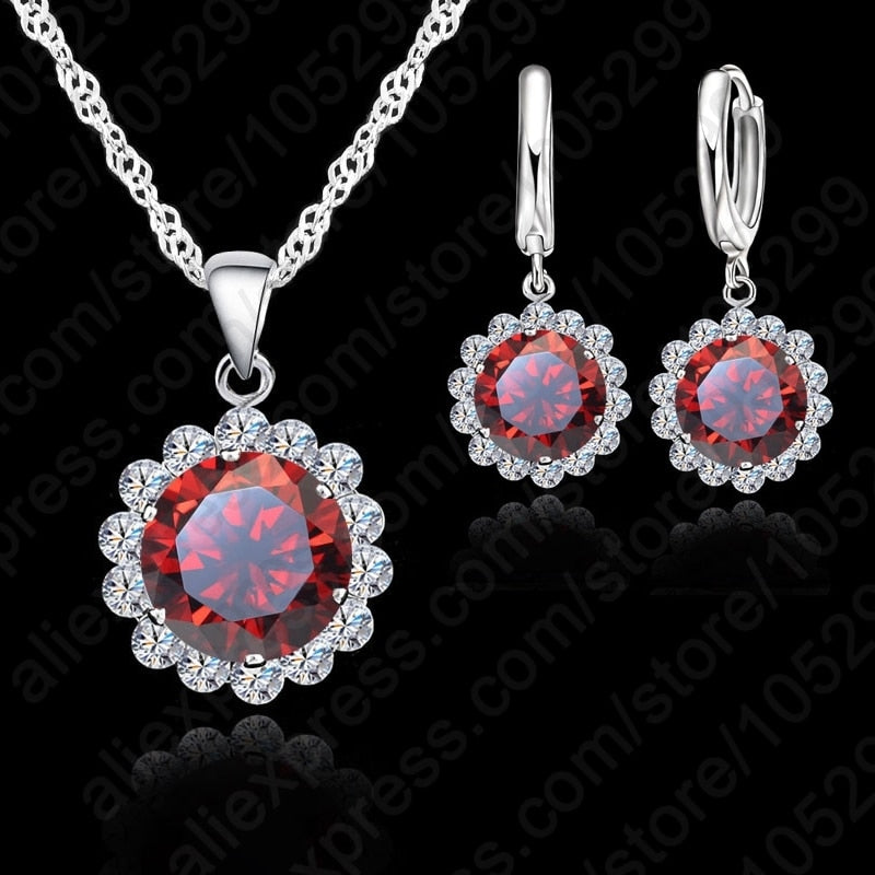 Jemmin Women Wedding Jewelry Sets 925 Sterling Silver With Austrian Crystal Pendant Necklaces And Earrings Set For Brides-geekbuyig