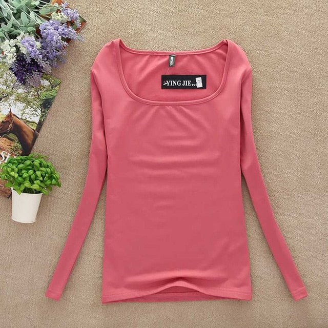 New T Shirt Women Long Sleeve Winter Tops Fashion 2017 T-shirts For Women Thermal Underwear Female T-shirt Camisas Femininas-geekbuyig