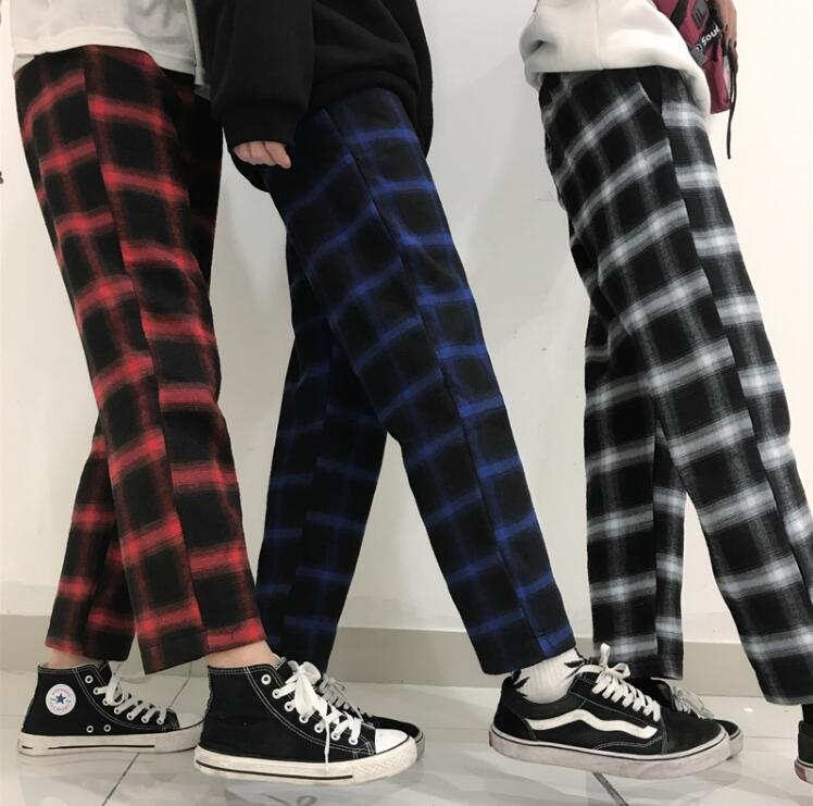 Spring Autumn vintage plaid loose casual pants-geekbuyig