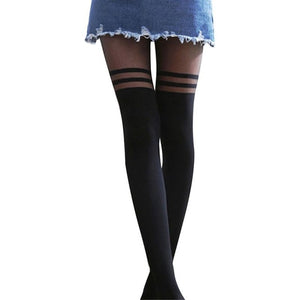 Women Cool Mock Over The Knee Double Stripe Sheer Black Sexy Temptation Sheer Mock Suspender Pantyhose Tights-geekbuyig