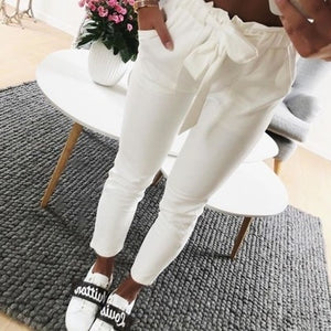 2018 fashion autumn women casual mid waist pants white suede bow tie drawstring sweet elastic waist pockets casual trousers-geekbuyig