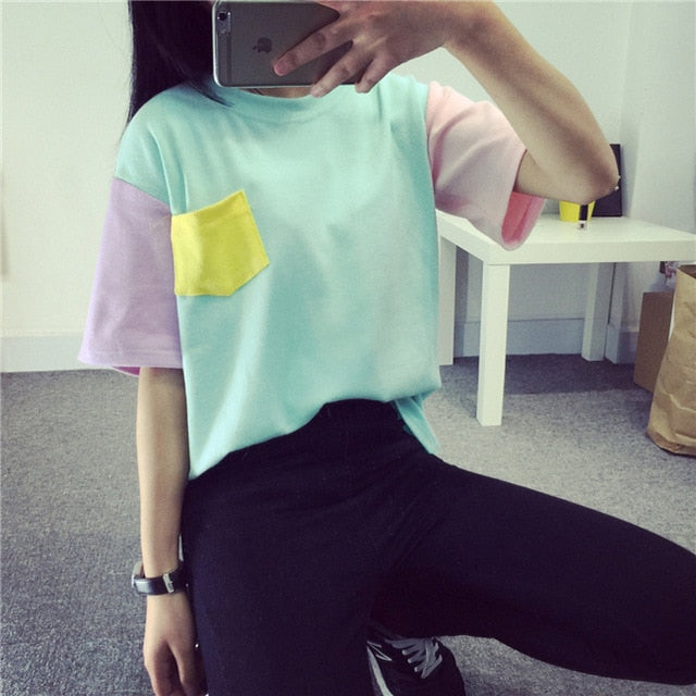 iyaolee 2018 Summer New Style Fashion Women Harajuku Patchwork T Shirts Kawaii Casual Cotton Spell Color Patchwork De Mujer-geekbuyig