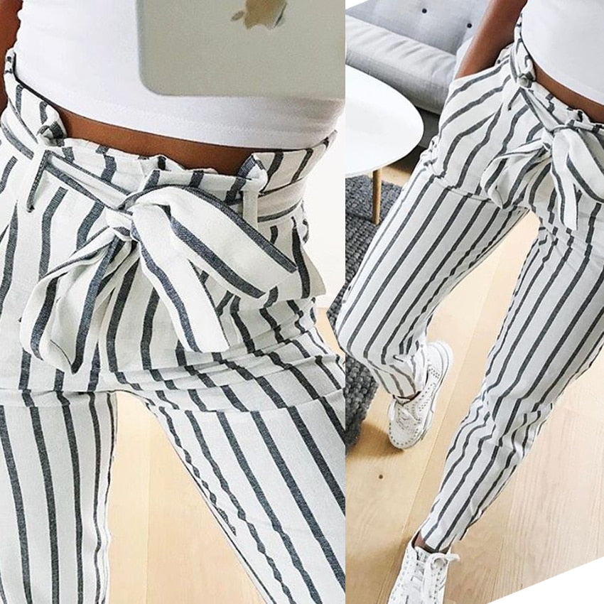 2018 fashion autumn women casual mid waist pants white striped bow tie drawstring sweet elastic waist pockets casual trousers-geekbuyig