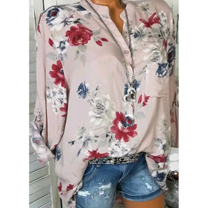 5XL Big Size Long Sleeve Shirt Summer Floral Printed V Neck Blouse Women Spring Summer Buttons Pockets Womens Tops And Blouses-geekbuyig
