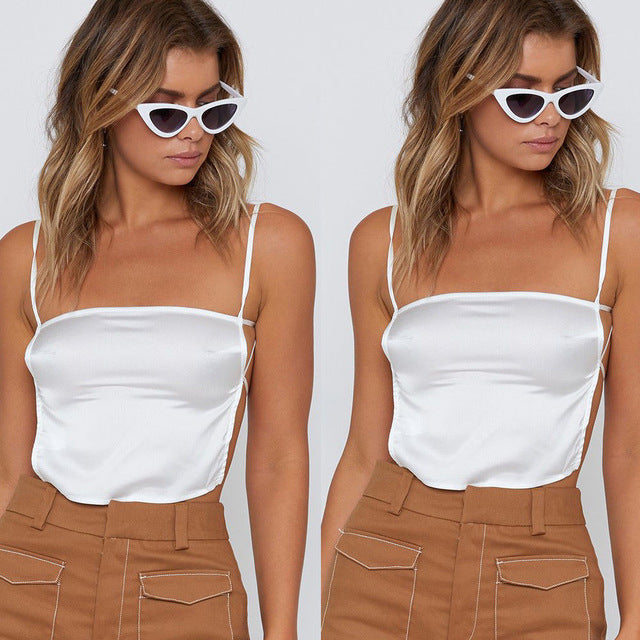 Fashion Women Ladies Tank Top Sexy Strap Backless Crop Top Stain Vest Tank Top Summer Women Clothing-geekbuyig