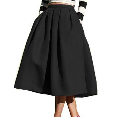 Female Fashion 2018 Street Style Solid Casual Flare High Waist Pleated Pockets Flare Pleated Spring Latest Vintage A Midi Skirt-geekbuyig