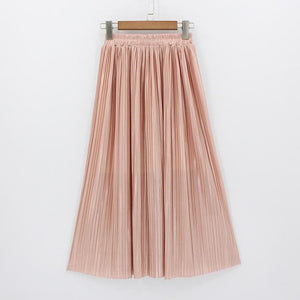2018 New Women Fashion Long Skirts High Waist Pleated Maxi Skirt Bling Metallic Silk Tutu Skirt-geekbuyig