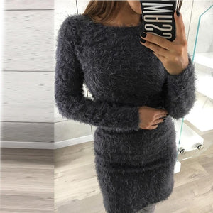 Winter Women Casual Solid Fleece Warm Mini Dresses Autumn Ladies Long Sleeve Simple Design Sexy Hip Package Party Dress #YL-geekbuyig