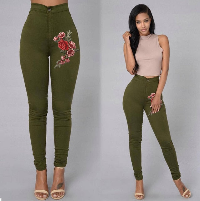 2018 ITFABS Fashion Women High Waist Emboridered Skinny Stretch Pencil Long Slim Casual Leggings Jeans-geekbuyig
