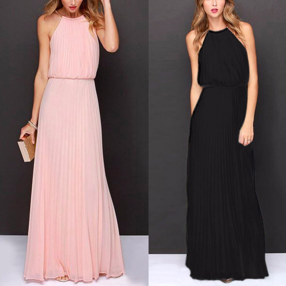Summer Dress Women Casual Elegant Evening Party Dresses Formal Chiffon Sleeveless Prom Maxi Dress Beach Long Sundress-geekbuyig