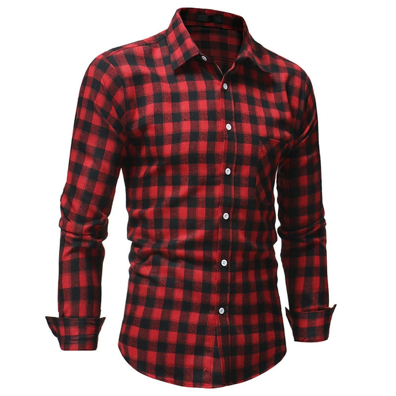 Men Flannel Plaid Shirt 100% Cotton 2018 Spring Autumn Casual Long Sleeve Shirt Soft Comfort Slim Fit Styles Brand Man Clothes-geekbuyig