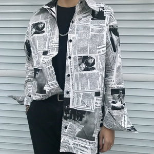 Gothic Rap Hip Hop English Newspaper Letter Print Loose Long Blouse Oversized Shirt Streetwear Fashion Blusa Korean Tee Jumpers-geekbuyig