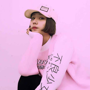 Casual Style Women Sweatshirts Streetwear Japanese Worlds Printed Long Sleeved Hoodies Casual Pink Black O-neck Hot Tops New-geekbuyig