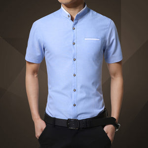 Fashion Brand Clothing Mens Short Sleeve Shirt 2018 Summer New Mandarin Collar Slim Fit Shirt M-5XL Casual Shirt Men Clothes-geekbuyig
