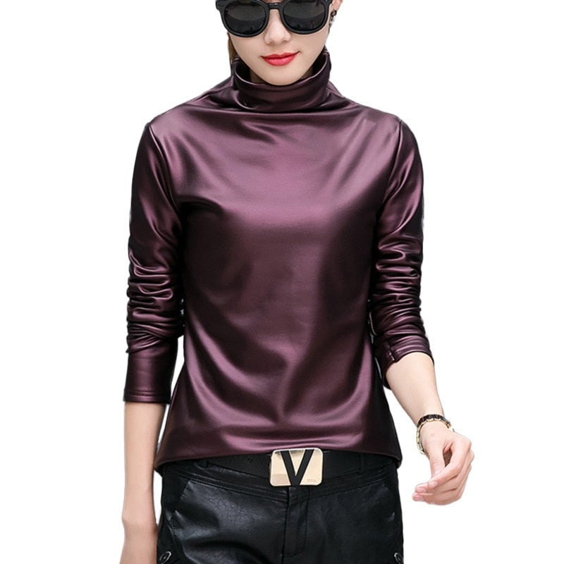 Turtleneck Blouse For Women 2018 Autumn Winter Long Sleeve Pu Leather Velvet Blusas Tops Plus Size Harajuku Korean Style Shirts-geekbuyig