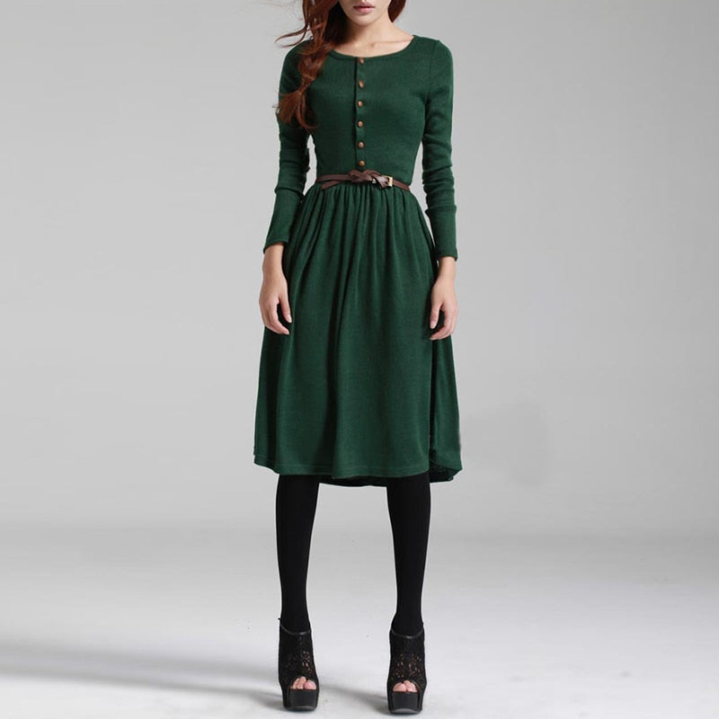 2018 Hot Sale Black Green Women Long Sleeve Knitted Button Dress Autumn Winter Dress Ladies O Neck Casual Party Dress With Belt-geekbuyig