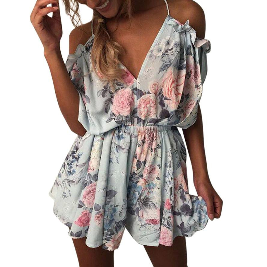 Summer Chiffon Jumpsuit Women Sexy Off Shoulder V-Neck Floral Printed Rompers Ladies Beach Style Boho Mini Playsuit Shorts #JO-geekbuyig