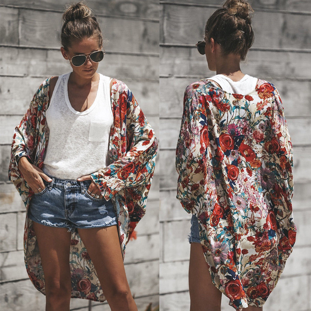 Women's Ladies Printed Chiffon Blouses Kimono Cardigan Shawl Beach Summer Ladies Blouse-geekbuyig