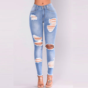 NEW ARRIVAL casual Long Jeans Women High Waist Skinny Pencil Blue Denim Pants ripped hole cropped slim fit skinny Jeans women-geekbuyig