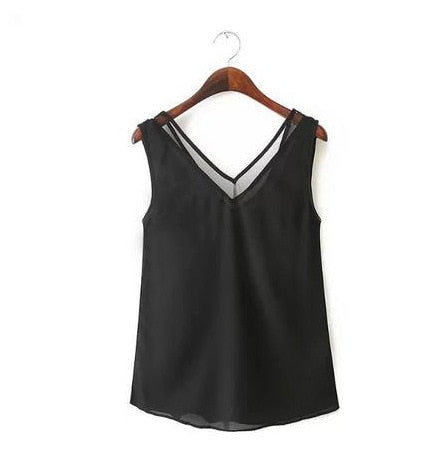 Slim Women Tank Tops Casual Thin Light Basic Style Women Solid Sleeveless Chiffon Vest Mesh Patchwork Ladies Clothing Black-geekbuyig